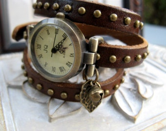 Sale - Nature's Best Wrap Around Brown Studded Leather Wrap Watch - Wrist Watch - Leaf & Bell Charm - Nature/Tree Lovers Watch