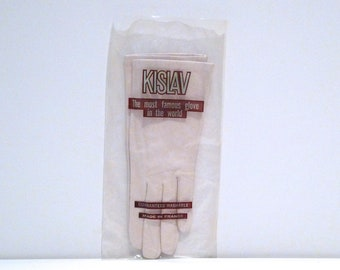 Kislav Gloves 1960s Vintage Short Kid Leather Gloves Washable Dress Gloves Made in Belgium Size 7 Neutral Beige Concrete Color Glace CO ED