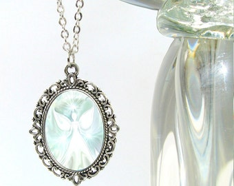 """White Jewelry, Angel Pendant, Reiki Necklace Chakra Jewelry Silver Oval """"The Vision"""""""