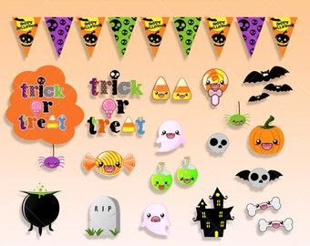 Kawaii Halloween Elements Clipart. Trick or treat Party graphics, Pumpkin kawaii, bones, haunted house, vampires clipart stickers