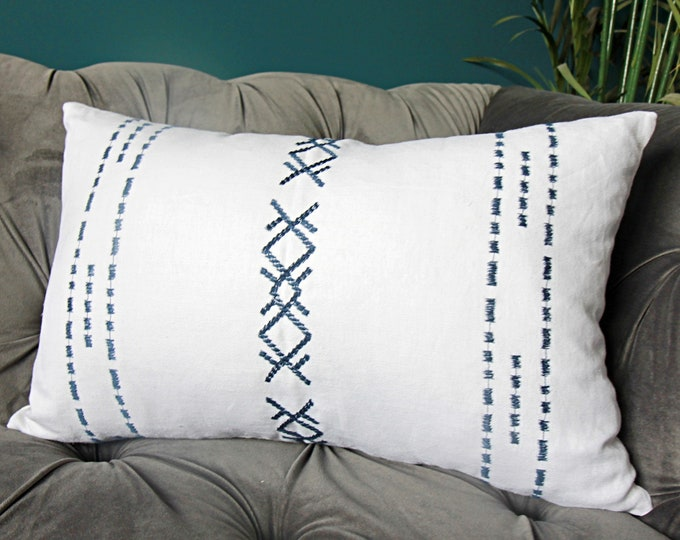 Blue and White Embroidered Boho Pillow Cover - Bright White Linen and Navy Pillow Cover - Motif Pillows