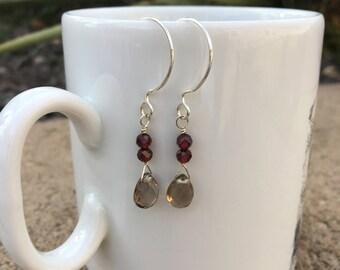 Smokey quartz and garnet dangle earrings