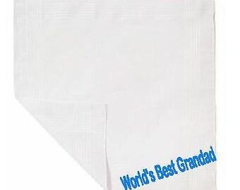 World's Best Grandad printed hankie/handkerchief