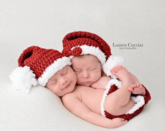 Twin santa hats and diaper covers, twin baby gifts, newborn twin photo prop, boy girl twin gift, Christmas twins, baby hats with diaper