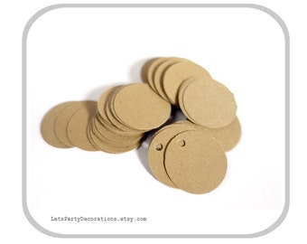 """Kraft Paper Tags- Hang Tags, Jewelry Tags- Price Tags- Merchandise Tags- Brown Kraft Tags 1"""" inch"""