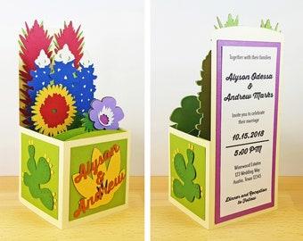 Pop Up Texas Wildflowers Wedding Invitation, Wildflower Wedding Invitation, Texas Bluebonnet Invitation, Custom 3D Box Card, CardBloom