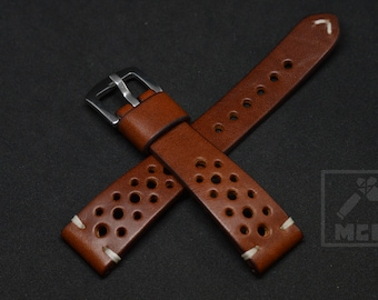 Leather watchstrap Thick Rally Racing Tan Custom Brown wrist watch band 18mm 19mm 20mm 21mm 22mm 23mm 24mm tapered sport style durable MCL
