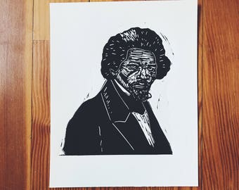 Frederick Douglass original linocut print