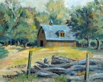 The Blue Barn - original oil painting