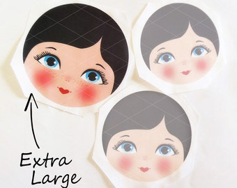 Babushka Matryoshka Cloth Face, Fabric Face, Doll making supplies, Extra large