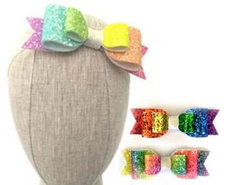 Rainbow Glitter Bow | Rainbow Bow | Glitter Bow