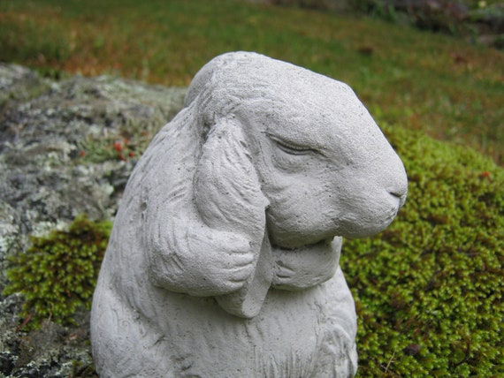 Bon Rabbit Statue Bunny Rabbit Figurine Concrete Rabbit Garden