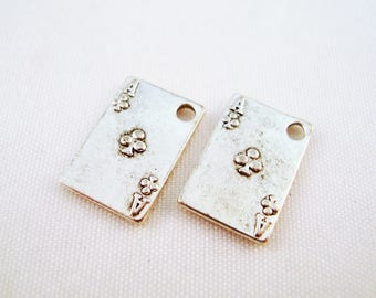 """BJ39 - 2 charms card """"ACE of clubs"""" playing Poker, antiqued, silver Aces"""