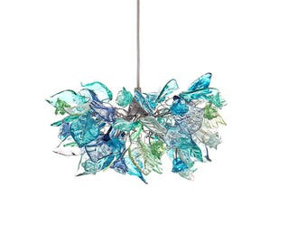 Pendant light, Lighting,island pendant with sea color flowers and leaves, hanging chandelier for bedroom, children room entry way.