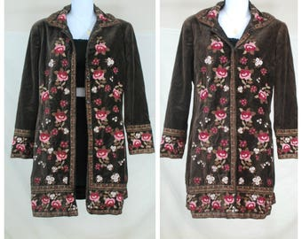 1970s Embroidered Velvet Duster Coat | VTG 70s Boho Flower Jacket