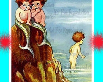 s433 Cute Vintage Mermaids Print Merbabies Postcard Fabric Blocks Panel for Quilting.