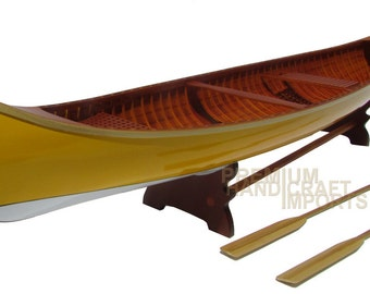 "24"" Handcrafted Peterborough Canoe - Yellow & White"