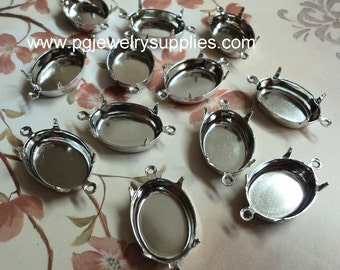 18mm x 13mm oval silver tone cameo settings CB2R 12 pieces lot l