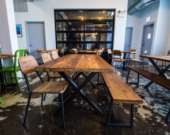 Reclaimed Wood Dining Table, Bar Table, Rustic Dining Table With Steel X  Frame Legs