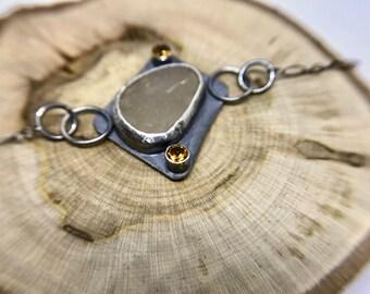 Maine Beach Stone Bracelet- Citrine, Stone, Silver