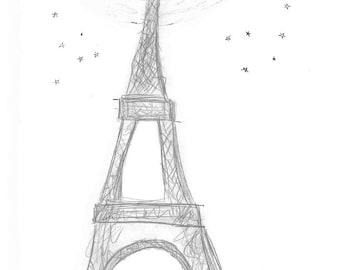 Eiffel Tower 11 x 14 - Whimsical Art Print Illustration - Paris, French, Oh la la