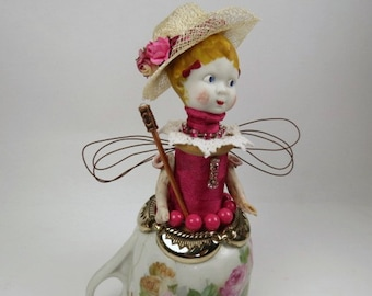"Assemblage Angel, Art Doll, ""Dress Up at Grandma's"" Pink Assemblage Art Doll"