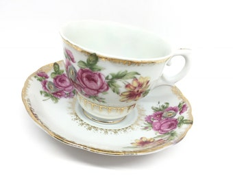 Elbro Porcelain Teacup and Saucer, Pink Roses Floral, Hand-decorated, Made in Japan