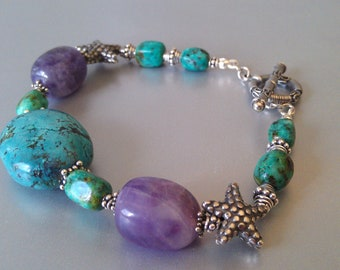 Ocean Treasure Turquoise and Amethyst  Starfish Bracelet