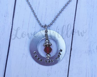 Hand Stamped Love You More Necklace with Crystal/Love Washer Pendant Necklace/Valentine's Necklace