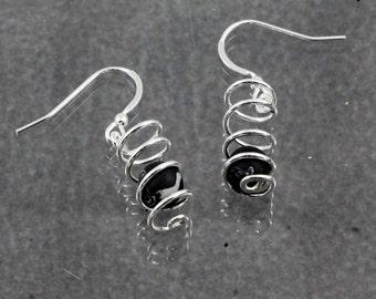 Black Onyx Spiral Earrings