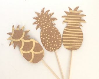 Pineapple Cupcake Toppers, Gold Foil, Custom Colors, Appetizer Picks