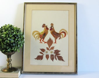 Vintage Framed Botanical Art - Rooster Wall Decor - 12x16 Silver Framed Art Collage - Pressed Leaves - Country Kitchen Art - Farmhouse Decor