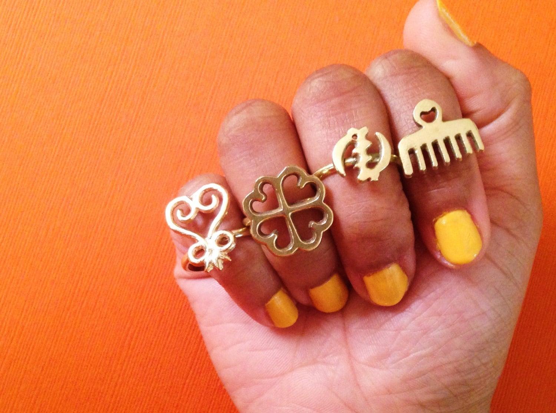 Adinkra African Symbol Rings Adinkra Rings Gold Symbol