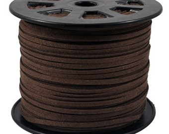 Faux Suede  Lace Cord Leather Flat  Sienna 3x1.5mm-20ft
