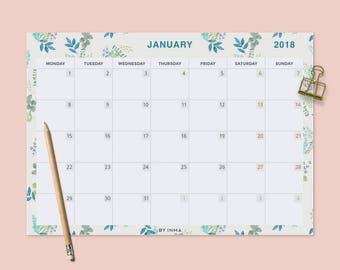 2018 Wall calendar PRINTABLE, Desk calendar pad, Monthly planner 2018, Calendar illustration, Calendar pad, Monthly calendar