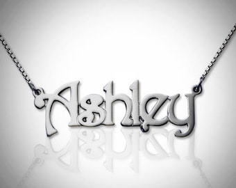 Nameplate Necklace | Sterling Silver Nameplate Necklace | Nameplate | Necklace