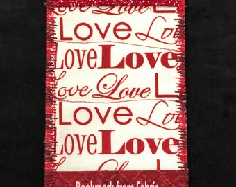 LOVE Red Valentine Bookmark Handmade Fabric Bookmark