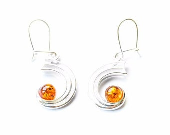 Small Amber Orbital Earrings, Amber earrings, orbit earrings, planetary earrings, planet earring, science earrings, space, amber jewellery
