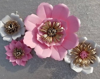 Set of 4 Paper Flowers - Any color, and petal style!