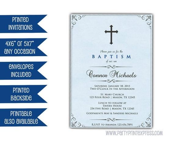 Blue Baptism Invitations Boy Communion Invitations Cross