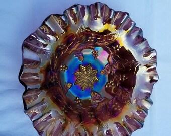 Millersburg Carnival Glass Bowl Holly Sprig Variant Amethyst