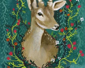 "Deer with Flowers - 8 1/2 x 11"" Print"