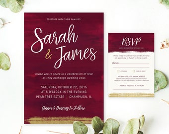 PRINTABLE Custom Wedding INVITE ONLY - Gold Burgundy Wedding Invitation or Save the Date