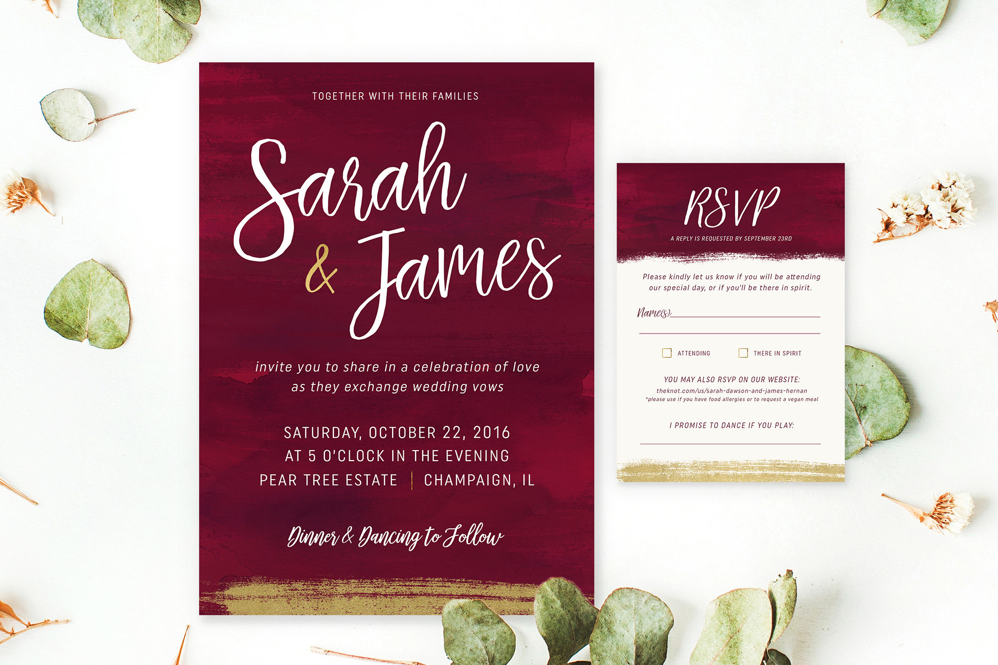 PRINTABLE Custom Wedding Invite & RSVP Gold Burgundy Wedding