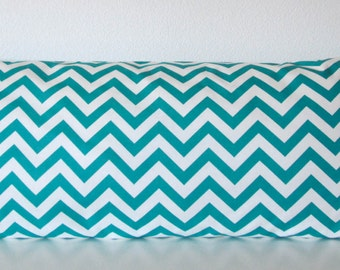 Pillow Cover - Turquoise - White - chevron - Zig Zag - True Turquoise - Decorative - Cushion Cover