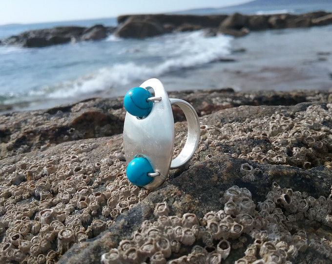 Sterling Silver Planet Turquoise Ring