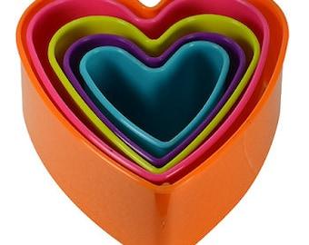 Multi Color Heart Cookie Cutter Set
