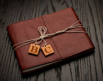 Leather Journal or Leather Sketchbook, Personalized Monogram Charms, Large Sized, Redwood Brown Leather Handbound Photo Album