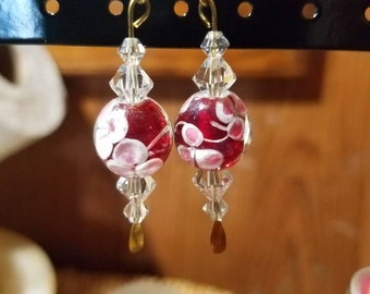 Sweet Swarovski crystals*rose style glass brass inside wire