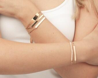 White and Gold Bracelet, Bar Bracelet, Dainty Bracelet, Skinny Bar Bracelet, Friendship Bracelet, Gold Filled Bracelet.